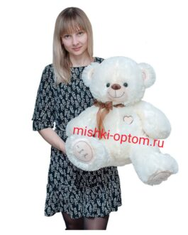 Мишка i love you 90 см Белый