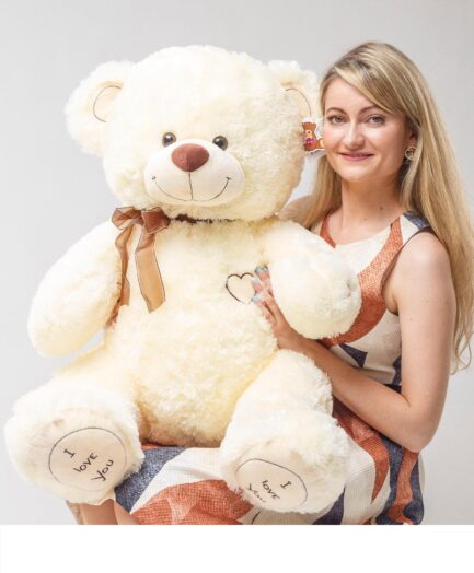 Мишка i love you 120 см Молочный PREMIUM QUALITY