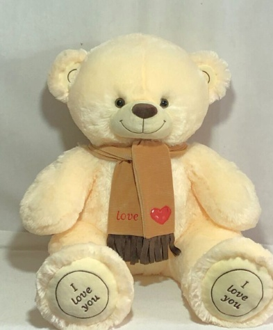 Мишка i love you в шарфике 115 см Белый