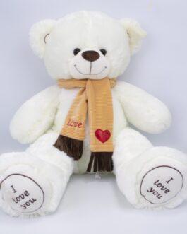 Мишка i love you в шарфике 90 см Белый